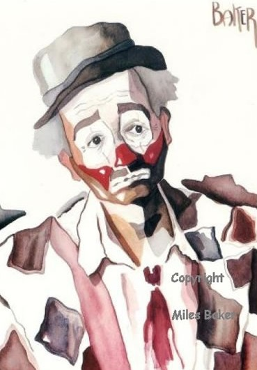 Clown - The Tramp - Clown Artist - Miles Baker - Devon Artist - Surrey Artists Gallery