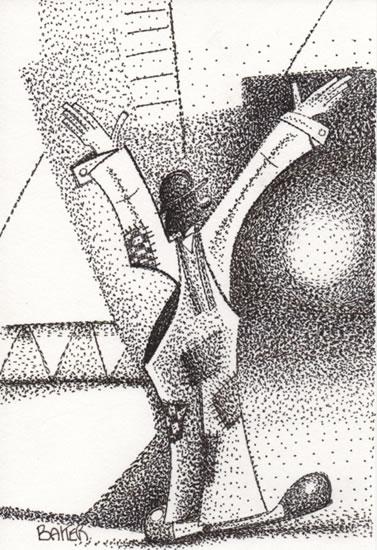 Clown - Welcome to the Greatest Show on Mirth - Pointillism - Clown Artist - Miles Baker - Devon Gallery