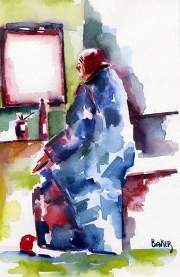 Clown in Dressing Room - Clown Artist - Miles Baker - Surrey Art Gallery