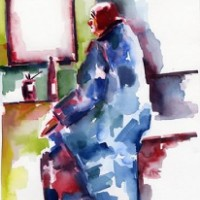 Clown in the Dressing Room – Clown Artist – Miles Baker – Surrey Art Gallery