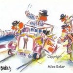 Clowns – Crazy Taxi Routine – Clown Artist – Miles Baker – Devon Artist – Artistic tuition to Individuals and small groups and Art Club presentations