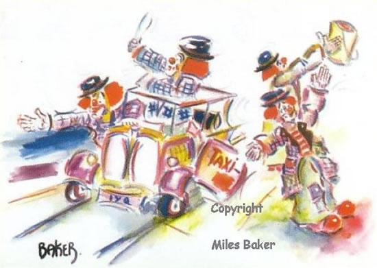 Clowns - Crazy Taxi Routine - Clown Artist - Miles Baker - Devon Artist - Artistic tuition to Individuals and small groups and Art Club presentations
