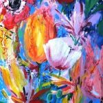 Contemporary Art – Bouquet of Flowers – Hampshire Artist Jan Rippingham – Paintings in Acrylics – Surrey Art Gallery