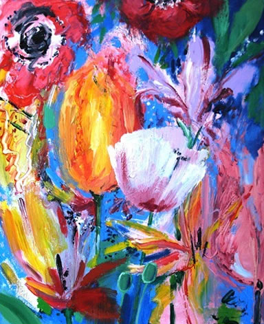 Contemporary Art - Bouquet of Flowers - Hampshire Artist Jan Rippingham - Paintings in Acrylics - Surrey Art Gallery