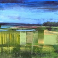 Contemporary Art – Surrey Fields – Hampshire Artist Jan Rippingham – Paintings in Acrylics – Surrey Art Gallery