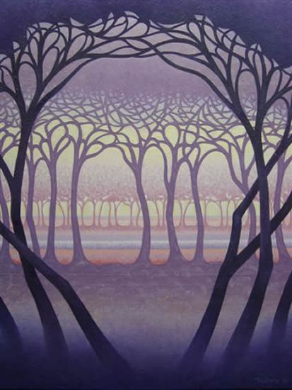 Contemporary Art - Trees - Purple Glade - Fred Masters - Abstract Artist - Paintings in Acrylic and Oil - Surrey Art Gallery