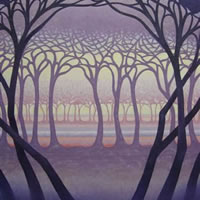Contemporary Art – Trees – Purple Glade – Fred Masters – Abstract Artist – Paintings in Acrylic and Oil – Surrey Art Gallery