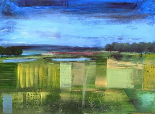 Contemporary, Modern Art - Surrey Fields - Hampshire Artist Jan Rippingham - Paintings in Acrylics - Surrey Art Gallery