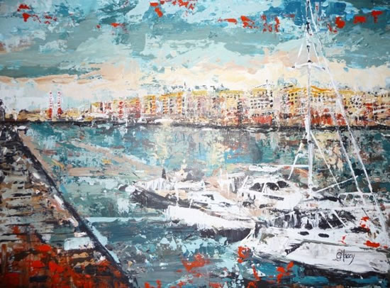 Docklands Yachts - Grainne Roche - Fine Artist - Byfleet Art Group - Woking Society of Arts - Surrey Art Gallery