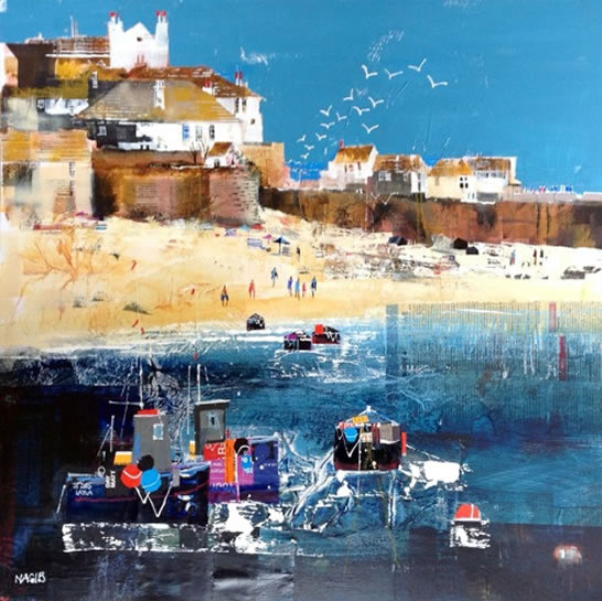 Enjoying The Beach at St Ives, Cornwall - Nagib Karsan - Artist in Watercolours, Mixed Media and Collage - Surrey Artists Gallery