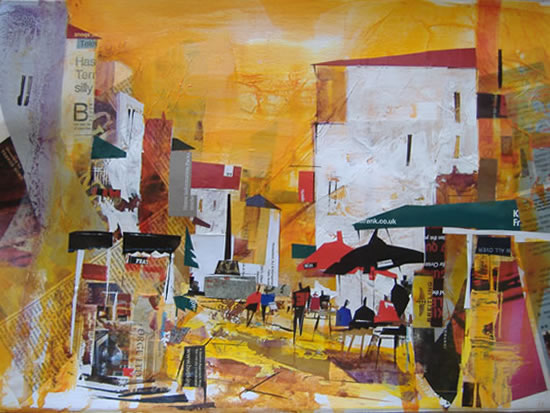 Expresso In The Sun - Nagib Karsan - Artist in Watercolours, Mixed Media and Collage - Dorking Group of Artists