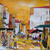 Expresso In The Sun – Nagib Karsan – Artist in Watercolours, Mixed Media and Collage – Dorking Group of Artists