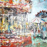 Fairground – Grainne Roche – Fine Artist – Byfleet Art Group – Woking Society of Arts – Surrey Art Gallery