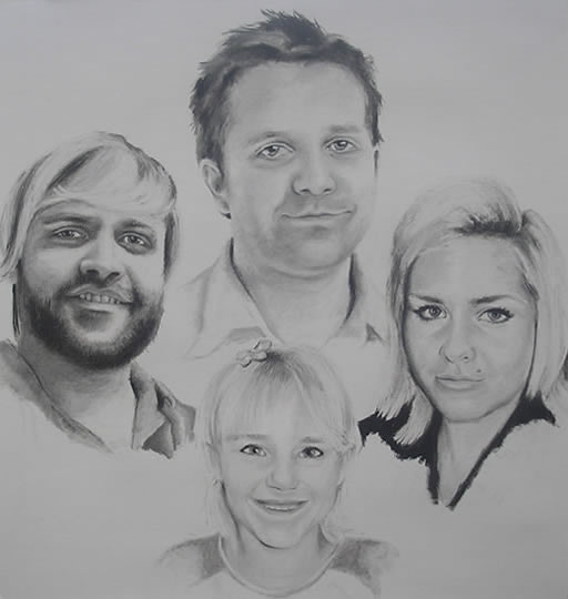 Family Group Portrait - Pencil, Charcoal and Pastels - Heidi Meadows - Surrey Art Gallery