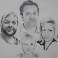 Family Group Portrait – Pencil, Charcoal and Pastels – Heidi Meadows – Surrey Art Gallery