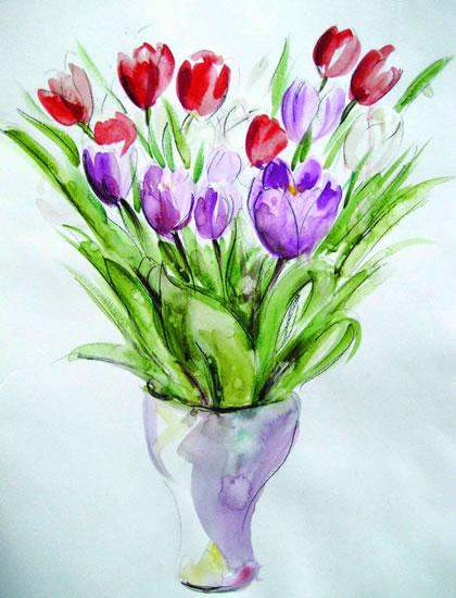 Flowers - Tulips - Still Life - Nerissa Davies - Puttenham Artist Painting in Watercolours - Surrey Art Gallery