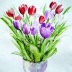 Flowers – Tulips – Still Life – Nerissa Davies – Puttenham Artist Painting in Watercolours – Surrey Art Gallery
