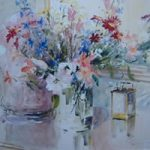 Flowers and Carriage Clock – Kim Page – Paintings in Watercolour and Oil – Surrey Art Gallery – England