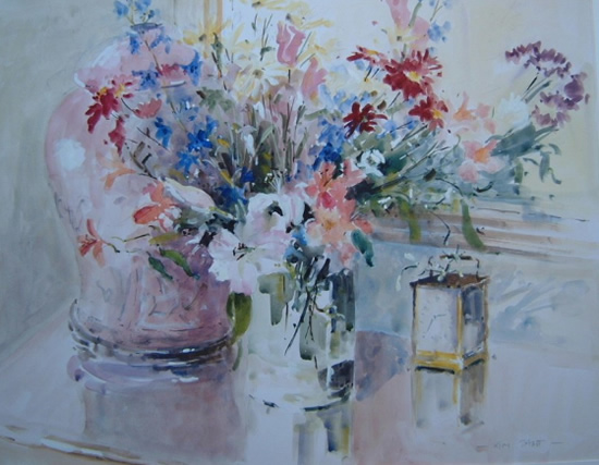 Flowers and Carriage Clock - Kim Page - Paintings in Watercolour and Oil - Surrey Art Gallery - England