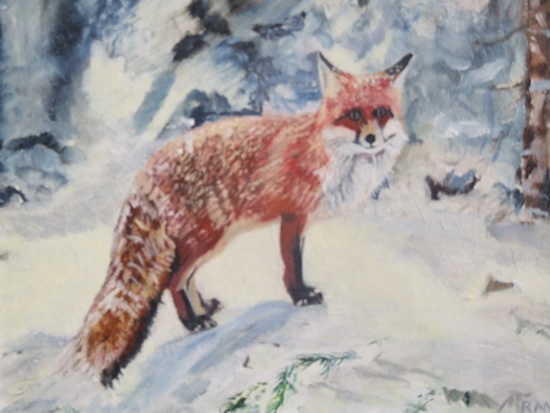 Fox in Winter Snow - Rodney Thomas Annetts - Woking Society Of Arts - Surrey Artists Gallery