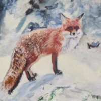 Fox in Winter Snow – Rodney Thomas Annetts – Woking Society Of Arts – Surrey Artists Gallery