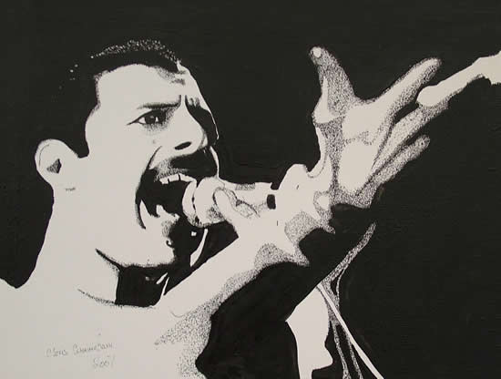 Freddie Mercury Portrait - Surrey Artist Chris Cunningham - Portrait Artist - Commissions Invited for Paintings of Film Stars, Rock Stars, Anyone Else