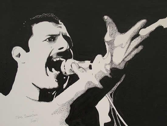 Freddie Mercury Portrait - Surrey Artist Chris Cunningham - Portrait Artist - Commissions Invited for Paintings of Film Stars, Rock Stars, Anyone Else