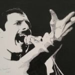 Freddie Mercury Portrait – Surrey Artist Chris Cunningham – Portrait Artist – Commissions Invited for Paintings of Film Stars, Rock Stars, Anyone Else