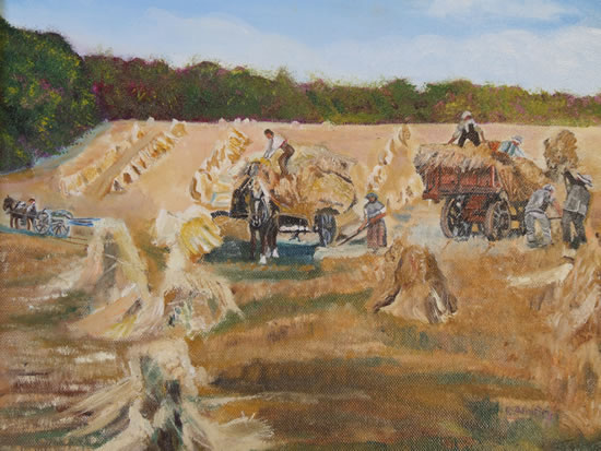 Gathering the Harvest - English Countryside - Rodney Thomas Annetts - Woking Society Of Arts - Surrey Artists Gallery