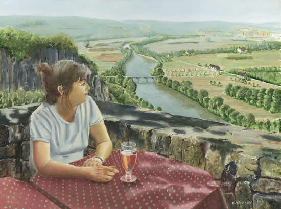 Girl in a Café, Dordogne Valley, France - David Whitson - Paintings in Oils - Woking Society of Arts - Surrey Art Gallery