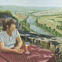 Girl in a Café, Dordogne Valley, France – David Whitson – Paintings in Oils – Woking Society of Arts – Surrey Art Gallery