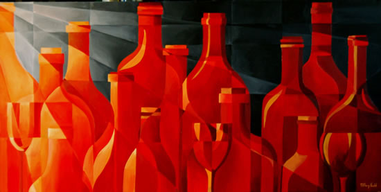 Glass Flame - Cubist-Style - Abstract - Tiffany Budd - Fine Artist - The Fine Art Trade Guild - Surrey Artists Gallery