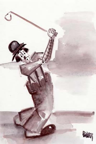 Golfer Clown - Clown Artist - Miles Baker - Devon Artist