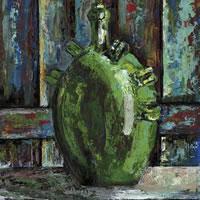 Green Urn – Grainne Roche – Fine Artist – Byfleet Art Group – Woking Society of Arts – Surrey Art Gallery