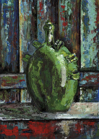 Green Urn - Grainne Roche - Fine Artist - Byfleet Art Group - Woking Society of Arts - Surrey Art Gallery