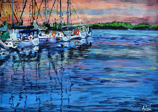 Harbour Sunset - Surrey Artist Ali Woolgar - Acrylic and Mixed Media - Guildford Art Society, Dorking Group of Artists and the Society of All Artists