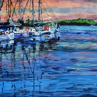 Harbour Sunset – Surrey Artist Ali Woolgar – Acrylic and Mixed Media – Guildford Art Society, Dorking Group of Artists and the Society of All Artists