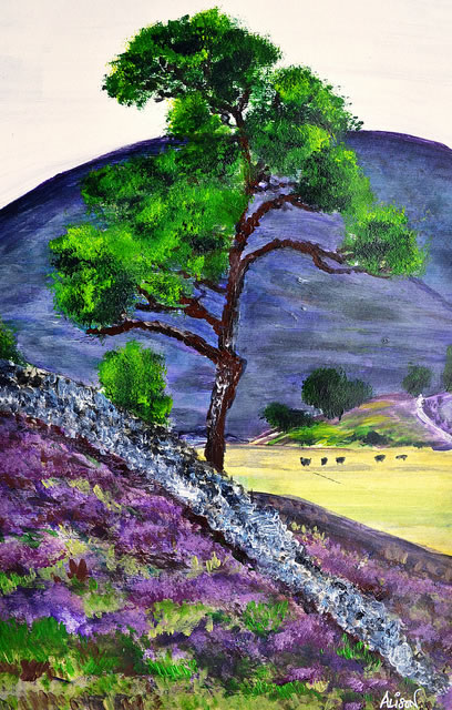 Highland Heather - Surrey Artist Ali Woolgar - Acrylic and Mixed Media - Guildford Art Society, Dorking Group of Artists and the Society of All Artists