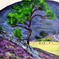 Highland Heather – Surrey Artist Ali Woolgar – Acrylic and Mixed Media – Guildford Art Society, Dorking Group of Artists and the Society of All Artists