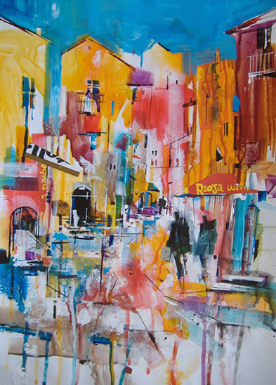 Hot Afternoon In Italy - Nagib Karsan - Artist in Watercolours, Mixed Media and Collage - Dorking Group of Artists
