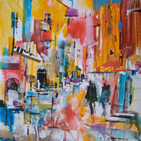 Hot Afternoon In Italy – Nagib Karsan – Artist in Watercolours, Mixed Media and Collage – Dorking Group of Artists