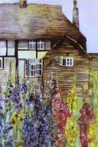 House Portrait Example - Cathy's Cottage - Susie Lidstone - Surrey Artist - Society of Architectural Illustration, Society for All Artists (1)