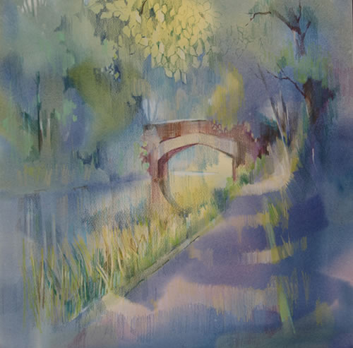 Impressionist Art - Basingstoke Canal, Surrey - Liz Seward S.W.A. S.F.P. Royal Institute of Painters in Watercolour and The Society of Women Artists