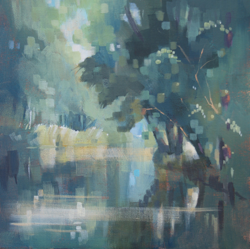 Impressionist Landscape On the Basingstoke Canal - Summer - Liz Seward S.W.A. S.F.P. Professional Artist, Art Tutor and Art Society Demonstrations