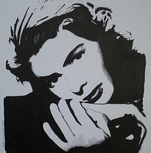 Ingrid Bergman Portrait - Surrey Artist Chris Cunningham - Portrait Artist - Commissions Invited for Paintings of Film Stars, Rock Stars, Anyone Else