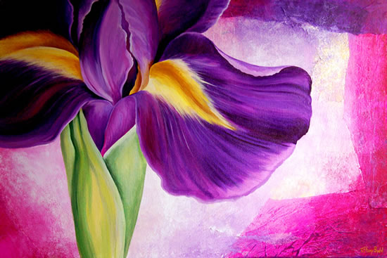 Iris Collage - Tiffany Budd - Fine Artist - National Acrylic Painters Association - Surrey Artists Gallery