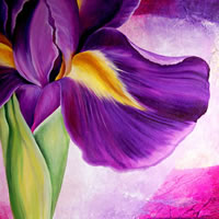Iris Collage – Tiffany Budd – Fine Artist – National Acrylic Painters Association – Surrey Artists Gallery