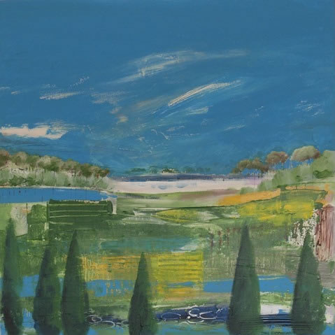 Italian Cypress Trees - Hampshire Artist Jan Rippingham - Paintings in Acrylics - Surrey Art Gallery