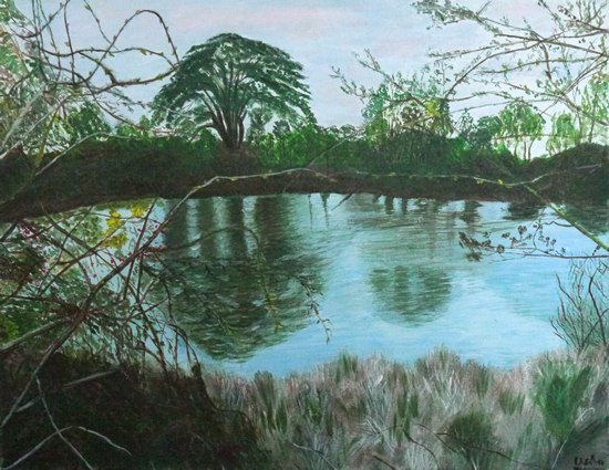 Landscape - Chasing the Flowing Rivers - Surrey Artist Usha Chambore - Acrylic Paintings and Prints