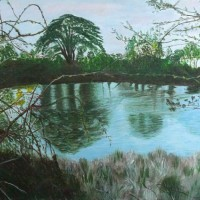 Landscape – Chasing the Flowing Rivers – Surrey Artist Usha Chambore – Acrylic Paintings and Prints